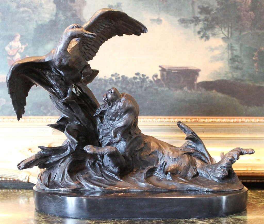 Wonderful Bronze Sculpture Retriever Hunting Dog