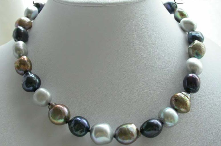 Fine Pearl 12 mm Multicolor Necklace