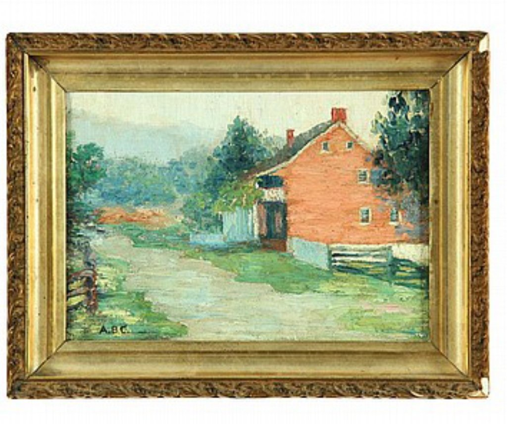 House Scene Oil on Board Late 19th Century
