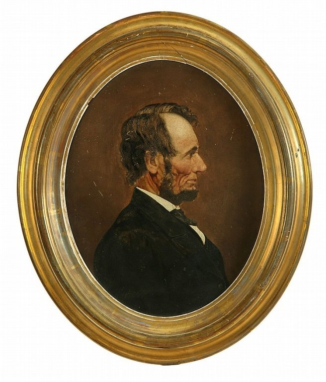 A portrait of Lincoln. Oil on paper, unsigned. In