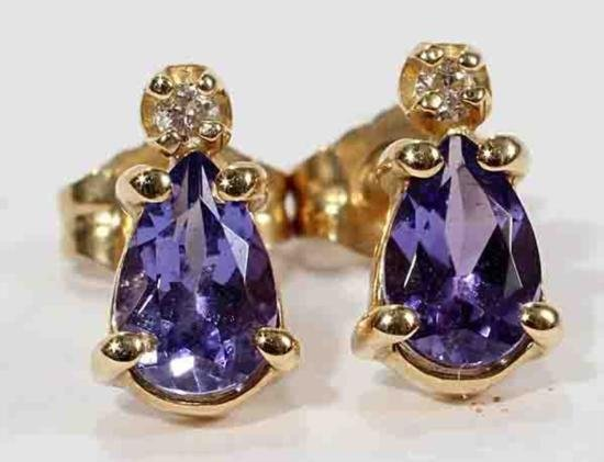 """14KT GOLD TANZANITE AND DIAMOND EARRINGS:H 3/8"""";"""