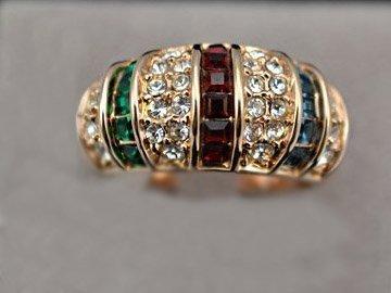 Beautiful Multicolor Swarovski Crystal Ring, 18K g