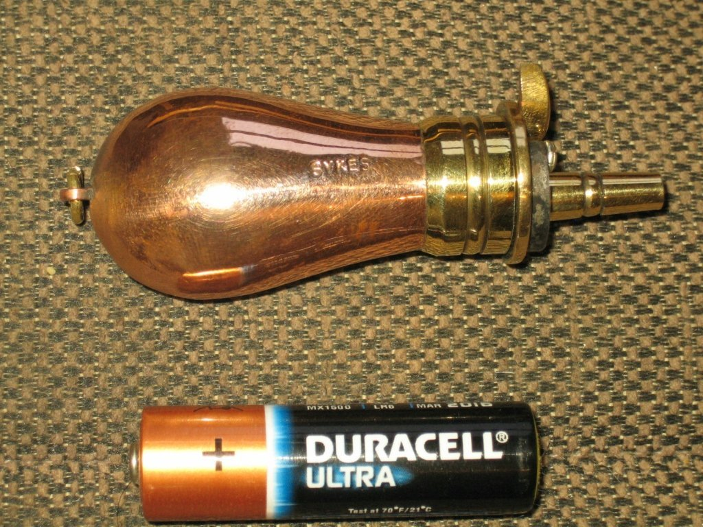 Small sykes copper powder flask