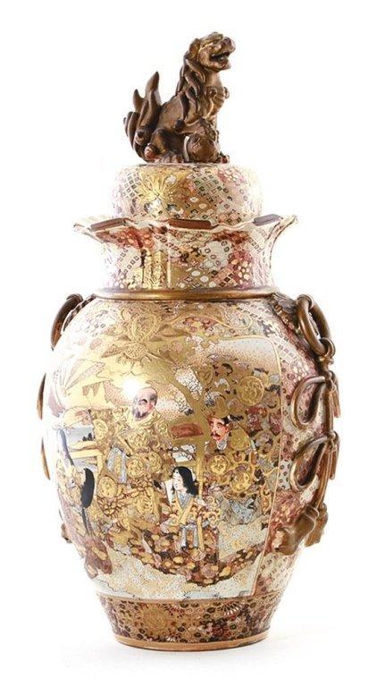Japanese Satsuma earthenware covered urn