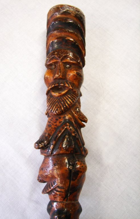 19th Century carved wooden walking stick