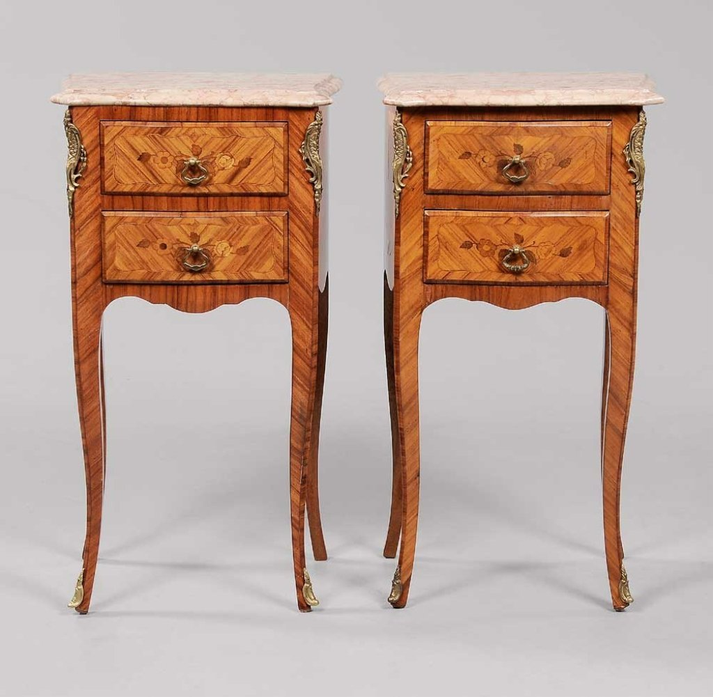 Pair Louis XV Style Marquetry Side Commodes French