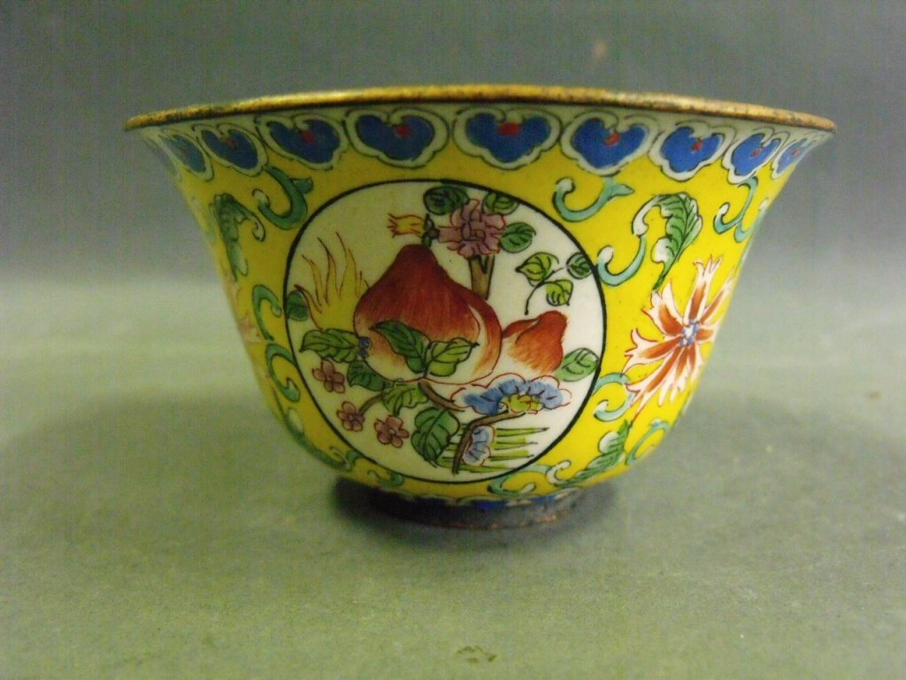 A Chinese yellow ground enamel bowl