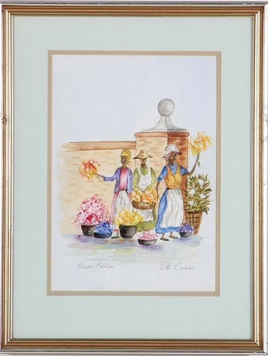 CHARLESTON FLOWER LADIES Watercolor
