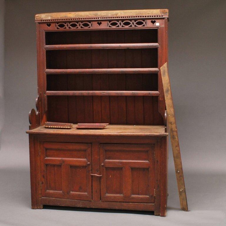 Circa 1730 Irish Red-painted Pine Pewter Cupboard