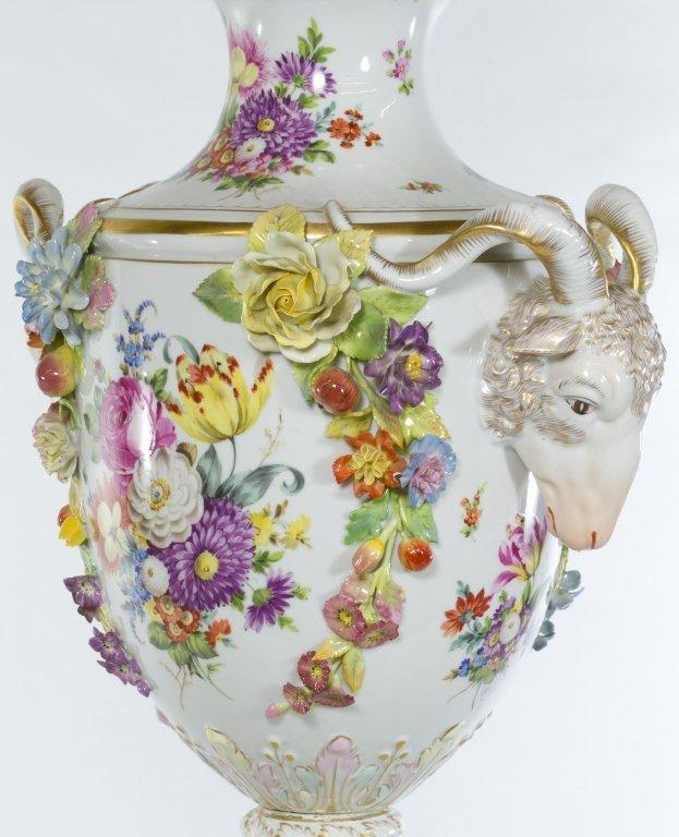 """Huge Dresden Hand Painted Porcelain Vase 37""""H"""
