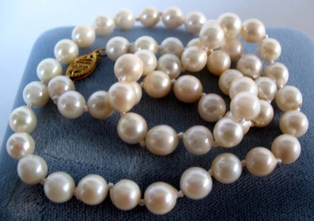 White Cultured Akoya Pearl Necklace 14K Yellow