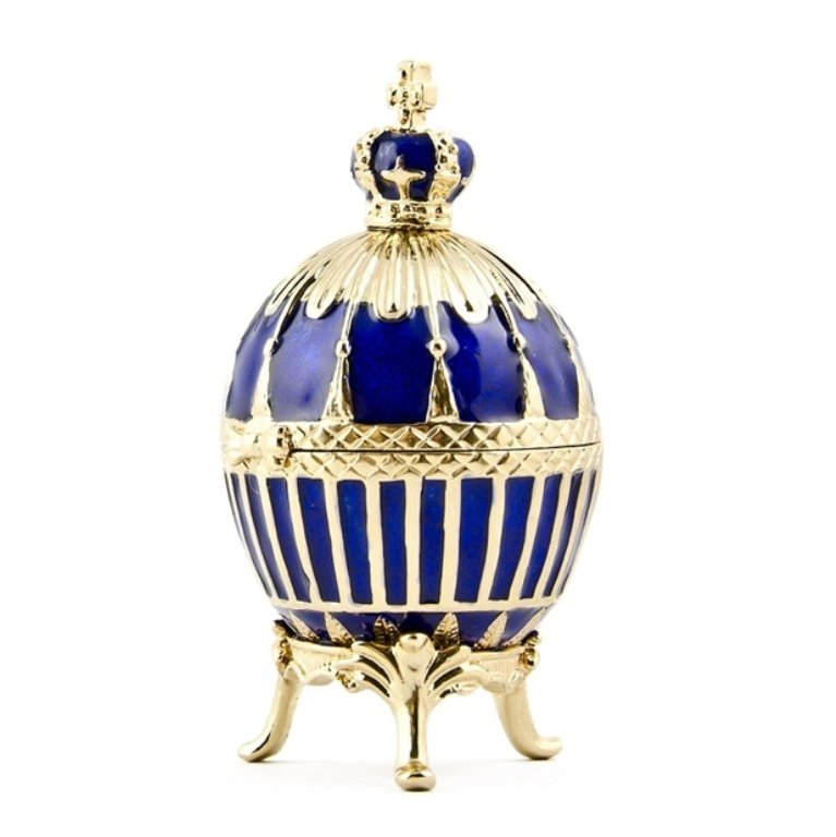 Blue Enamel Ribbed Faberge Inspired Egg