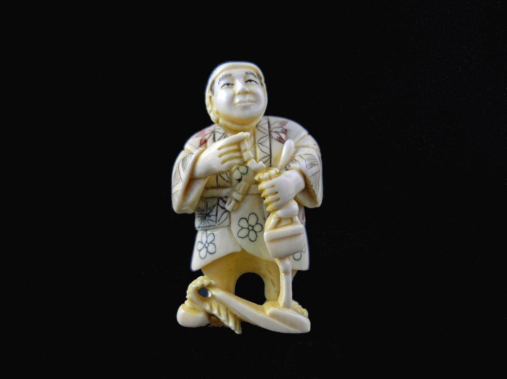 Signed Hand Carved Ivory Netsuke Figure