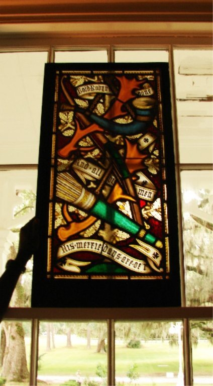 Set of Eight Stained Glass Antique Windows