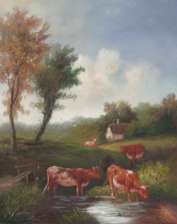 8 x 10 Oil on Board Depiciting Cow & Pasture Scene