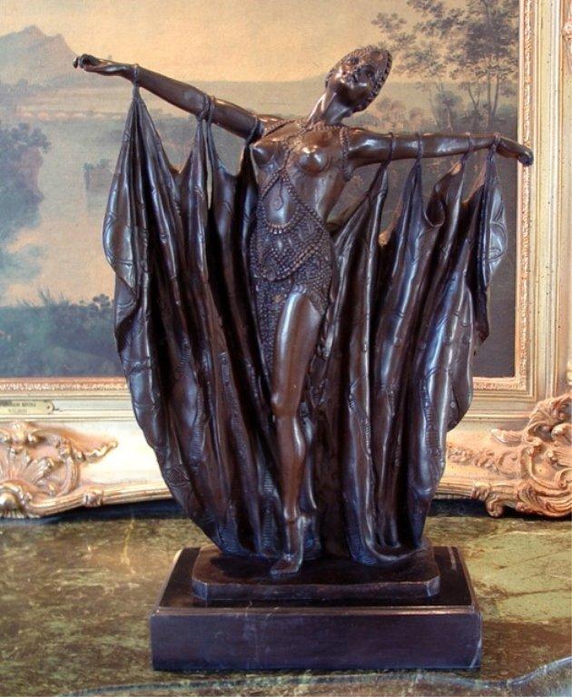Alluring Bronze Sculpture Vegas Show Girl Art Deco