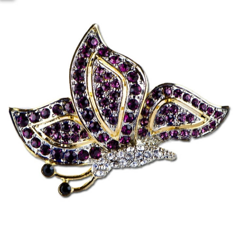Ruby Crystal Butterfly Brooch