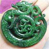 Handcarved Green Jade Chinese Dragon Pendant