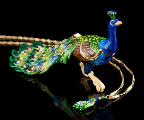 Lovely Peacock Jeweled Trinket Box & Necklace