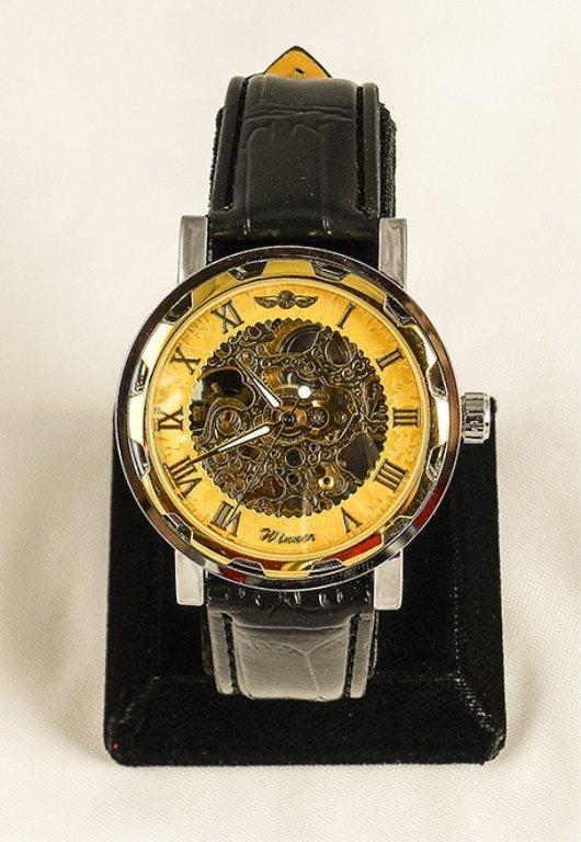 Unisex Gold Tone Skeleton Watch