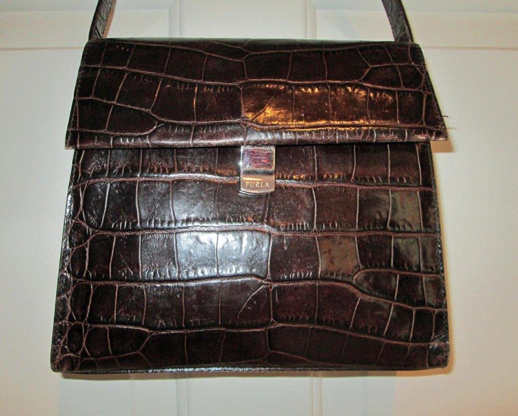 FURLA Crocodile Brown Leather Italian Hand Bag