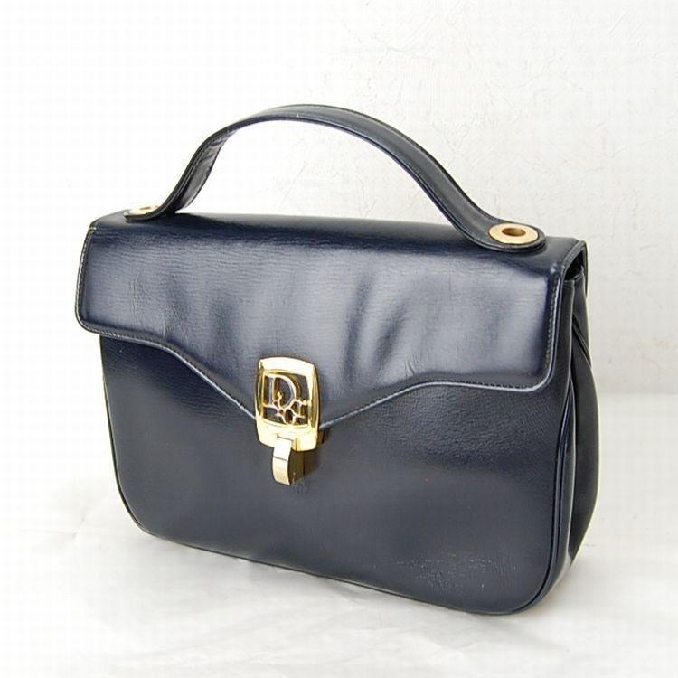 Christian Dior Navy Blue Leather Hand Bag