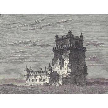 ORIGINAL Antique PRINT scene-FEUDAL CASTLE OF BEL