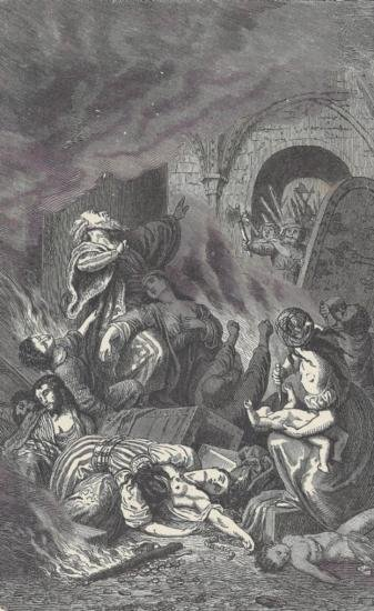 ORIGINAL Antique PRINT scene-DEATH OF THE RABBI A