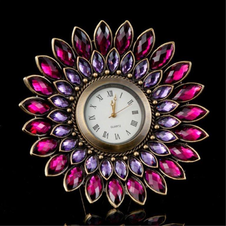 Lovely Amethyst Jeweled Desk Clock