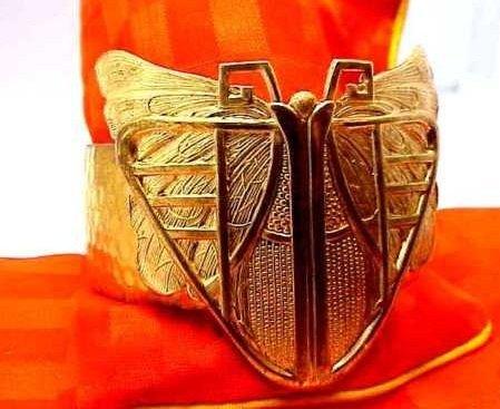 Art Nouveau Scarab Beetle Brass Womens Bracelet