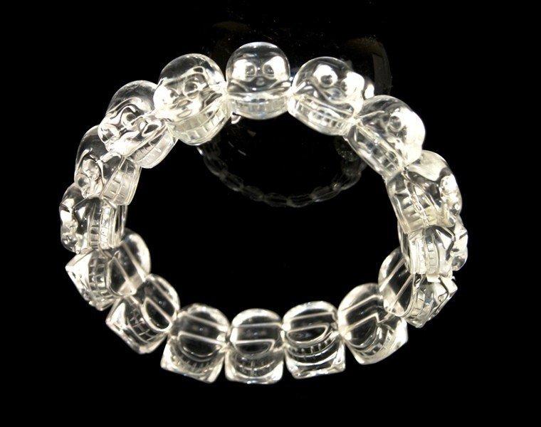 Clear Crystal Quartz Skull Bracelet
