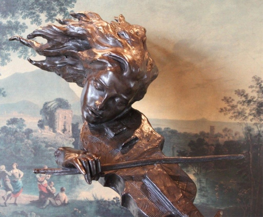 Lovely Bronze Bust Sculpture Violin Bow Orchestra