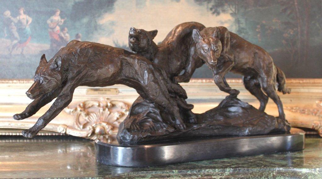 Wolf Pack Bronze Sculpture