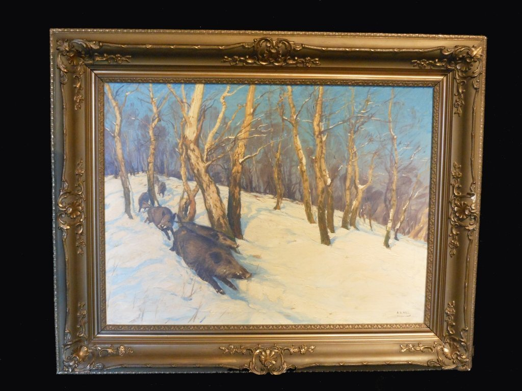 Large Landscape Oil On Canvas By ALBERT HOLZ
