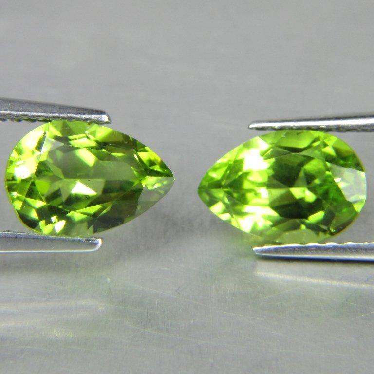 Pair 4.15ct Pear Cut Burmese Peridot Gemstones