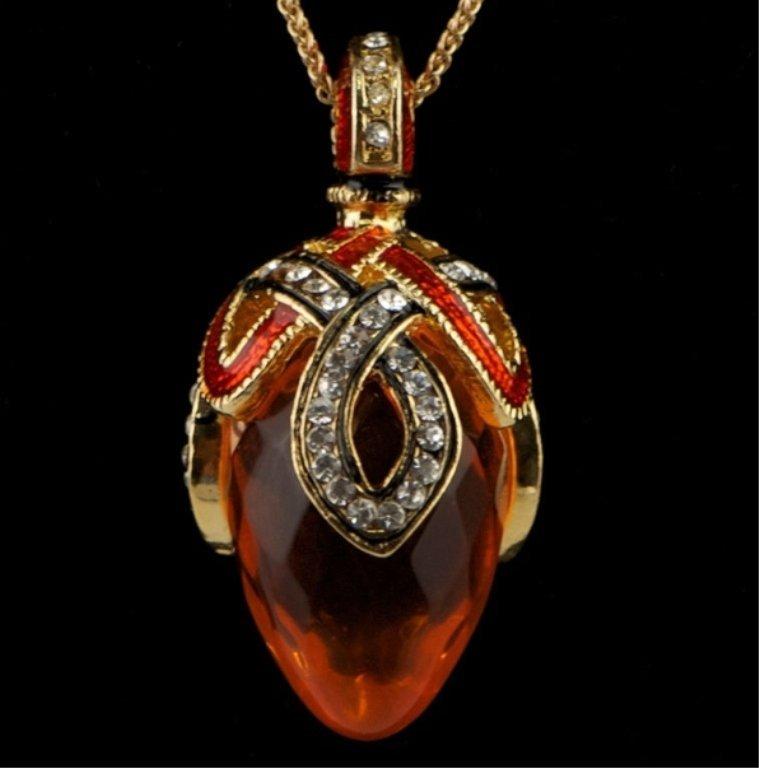 Crystal Loop Faberge Inspired Pendant