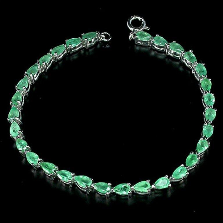 37.89 Ct. Pear Cut Natural Emerald Bracelet