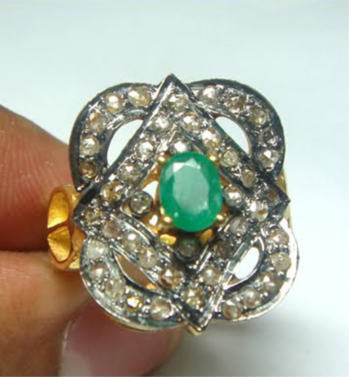 Vintage Rose Cut Diamond and Emerald Ring