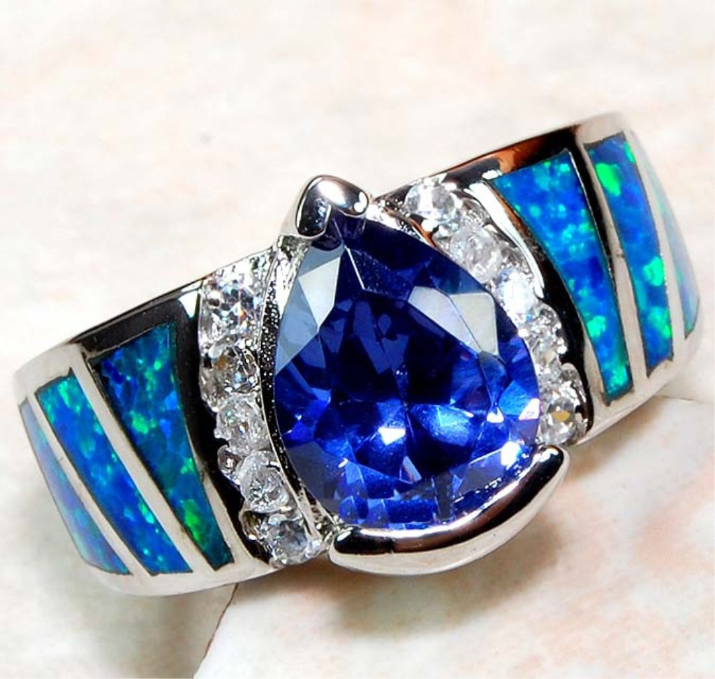 Blue Sapphire & Australian Opal White Topaz Ring