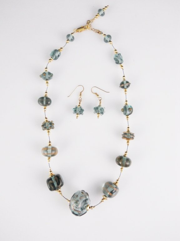 Beautiful Hand Blown Glass Necklace and Earrings