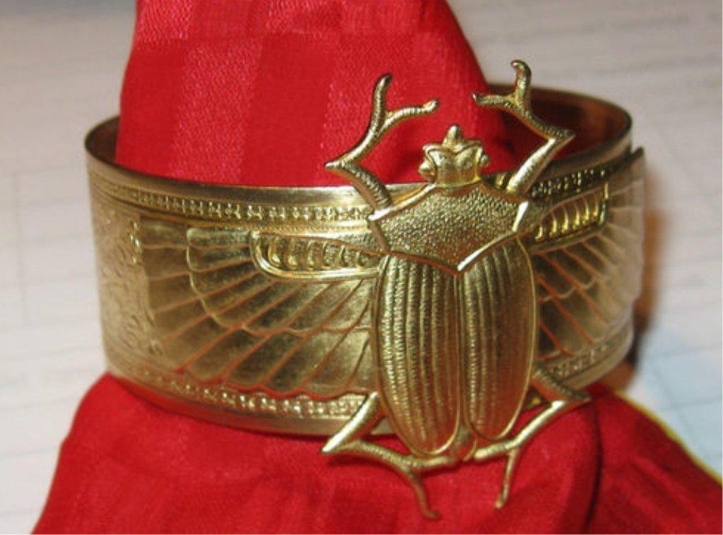 Art Nouveau Egyptian Scarab Beetle Cuff Bracelet