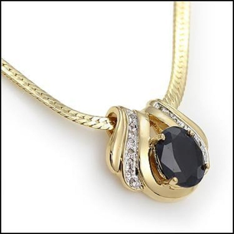 Genuine Diamond & Black Sapphire Pendant, Necklace