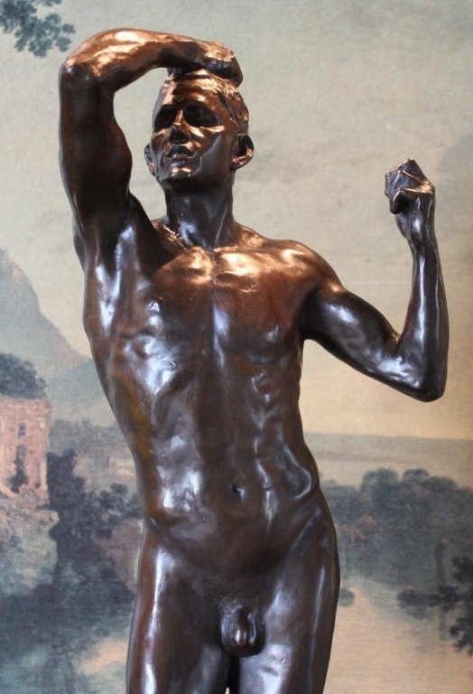 Erotic Athletic Male Nude Bronze Sculpture