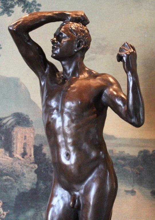 Erotic Athletic Male Nude Bronze Sculpture - 3
