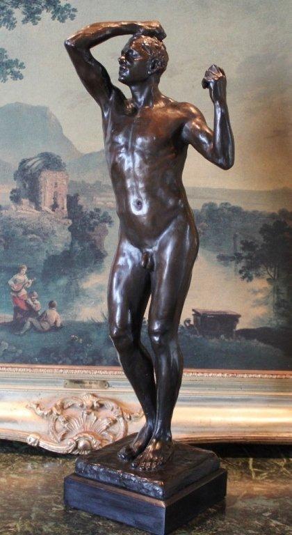 Erotic Athletic Male Nude Bronze Sculpture - 5