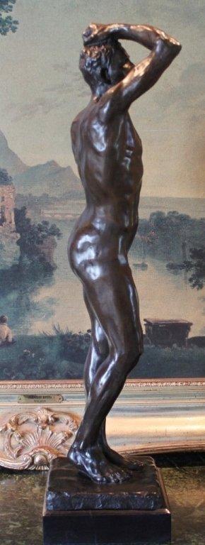 Erotic Athletic Male Nude Bronze Sculpture - 6