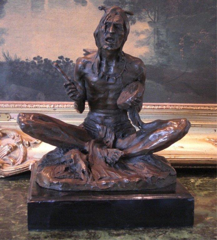 Glorious Bronze Sculpture Seated Native American