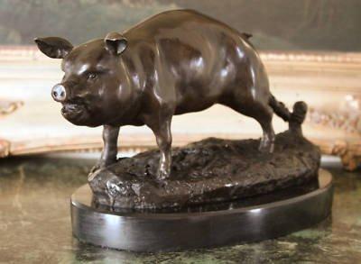 Cute Pot Belly Pig Bronze Sculpture
