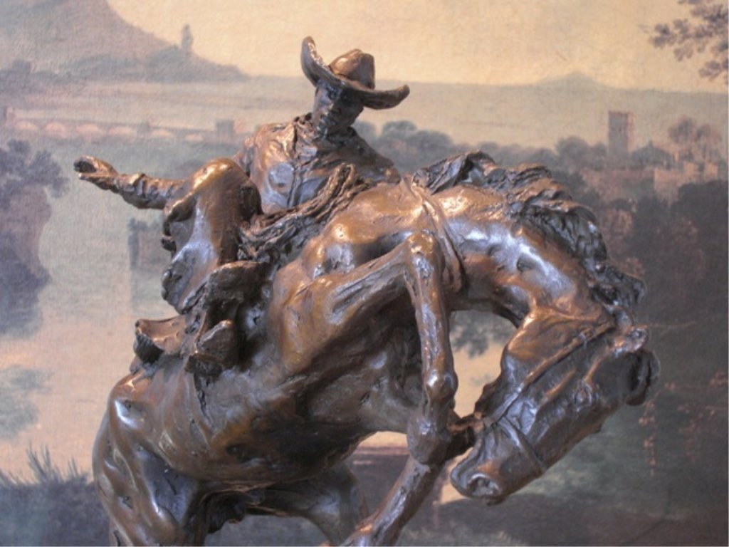 Gorgeous Bronze Sculpture Cowboy and Rearing Horse
