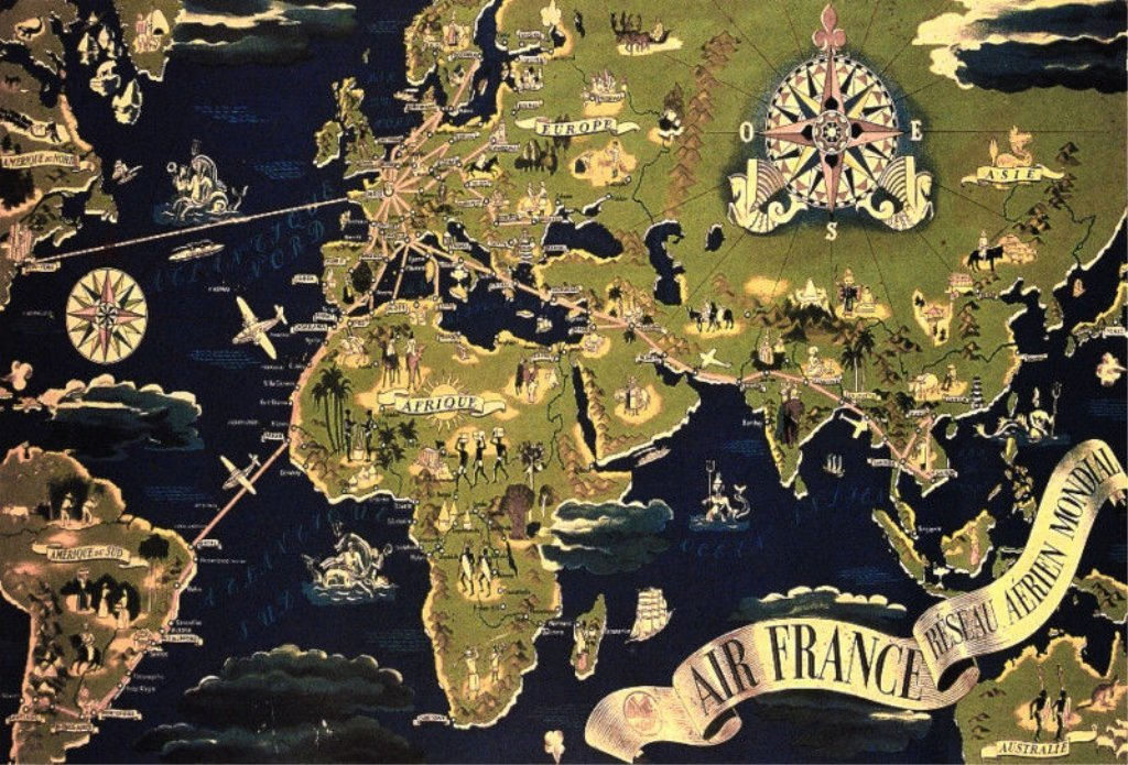 Vintage Travel Poster, Map, Air France